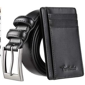 Mens Dress Belt Genuine Leather Slim Card Wallet